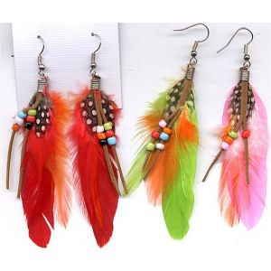 70s Feather Suede Earrings